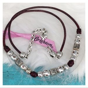 Brighton Brown Leather Silver Beaded Necklace